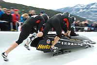 The USA team of Steven Holcomb, Justin Olsen, Steve Mesler and Curis Tomasevicz compete in the Mens' four-person bobsleigh World Cup competition held at the Whistler Sliding Centre on Feb 7, 2009