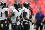 Baltimore Ravens warms up during the International Series match between Baltimore Ravens and Jacksonville Jaguars at Wembley Stadium, London, England on 24 September 2017. Photo by Jason Brown.
