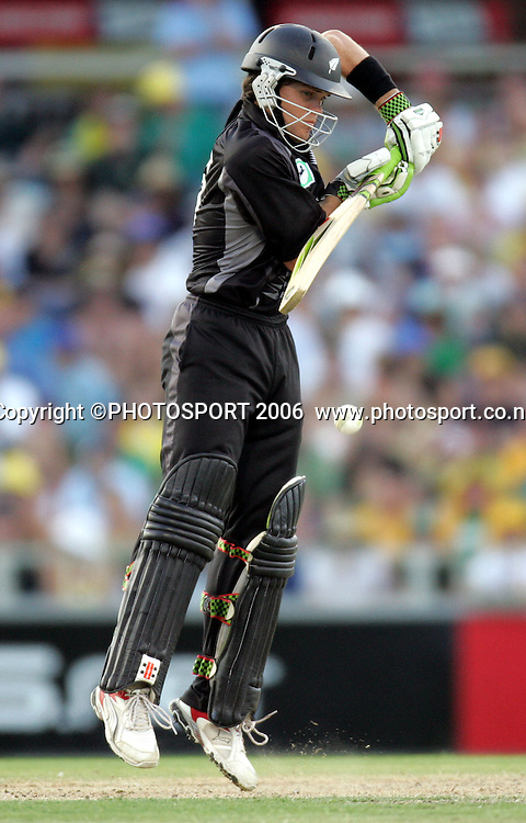 New Zealand opening batsman Lou Vincent during his innings of 66 during the one day international cricket match between New Zealand and Australia at the WACA ground in Perth on Sunday 28 January, 2007. Australia made 343/5 after winning the toss and batting first and in reply New Zealand scored 335/5. Australia won by 8 runs. Photo: Andrew Cornaga/PHOTOSPORT<br /><br /><br /><br />280107
