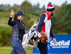 Auchterarder, Scotland, UK. 15 September 2019. Sunday Singles matches on final day  at 2019 Solheim Cup on Centenary Course at Gleneagles. Pictured; Angela Yin of Team USA waves to crowd at 8th hole. Iain Masterton/Alamy Live News