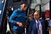 Yerry Mina (13) of Everton on arrival at the Vitality Stadium ahead of the Premier League match between Bournemouth and Everton at the Vitality Stadium, Bournemouth, England on 15 September 2019.