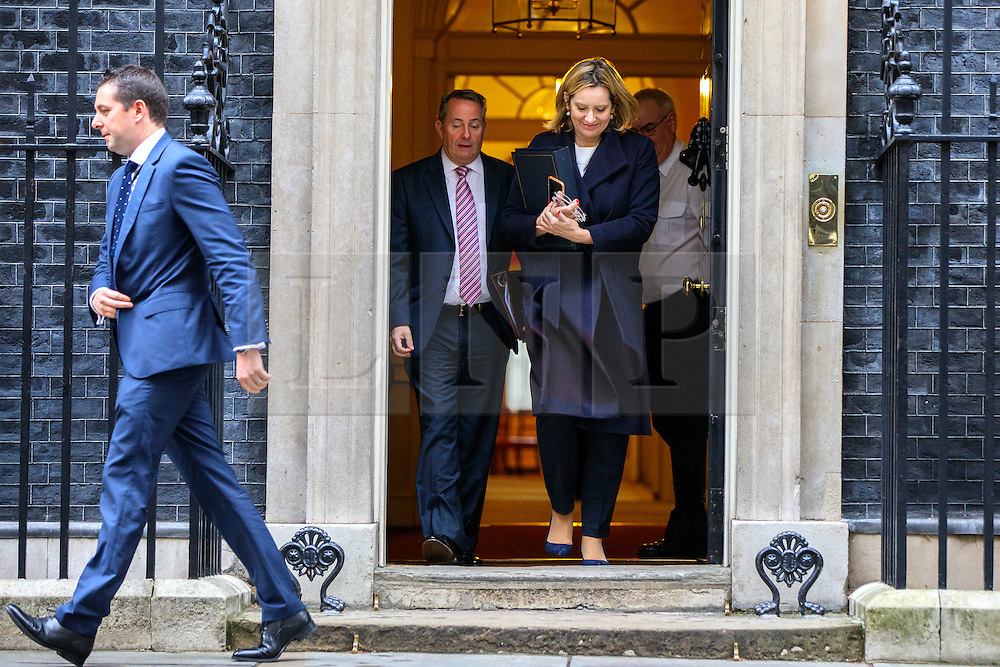 © Licensed to London News Pictures. 15/11/2016. London, UK. International Trade Secretary LIAM FOX and Home Secretary AMBER RUDD attend a cabinet meeting in Downing Street on Tuesday, 15 November 2016. Photo credit: Tolga Akmen/LNP
