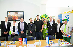 Matej Erjavec, president of KZS, Tatjana Jurisevic of Kompas, Ivo Daneu, Gregor Skocir, Marko Milic, mascot Lipko, Peter Majerle of Kompas Outgoing, Matej Avanzo of KZS and fan Aleksander during press conference of Basketball Federation of Slovenia - KZS when signing a contract with Tourist agency Kompas for selling Eurobasket 2015 tickets, on March 2, 2015 in Ljubljana, Slovenia. Photo by Vid Ponikvar / Sportida