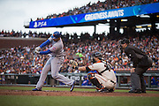 New York Mets first baseman James Loney (28) makes contact with a pitch against the San Francisco Giants at AT&T Park in San Francisco, Calif., on August 21, 2016. (Stan Olszewski/Special to S.F. Examiner)