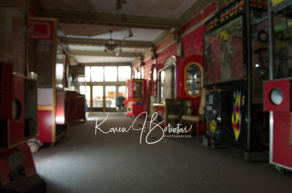 Renovation work done by Bonnette, Page and Stone at the Colonial Theater in downtown Laconia.  Looking out towards main entrance - Lobby.   ©2016 Karen Bobotas Photographer