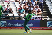 Tabraiz Shamsi celebrates his wicket during the One Day International match between South Africa and England at PPC Newlands, Capetown, South Africa on 4 February 2020.