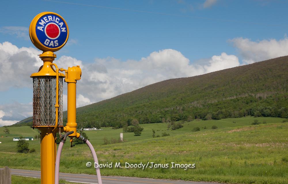 "Antique ""American Gas"" glass gas pump on a farm near Sweet Springs West Virginia May 2011"