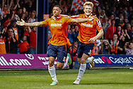 Andre Gray of Luton Town celebrates scoring his team's first goal to make it 1-1 during the Skrill Conference Premier match at Kenilworth Road, Luton<br /> Picture by David Horn/Focus Images Ltd +44 7545 970036<br /> 21/04/2014
