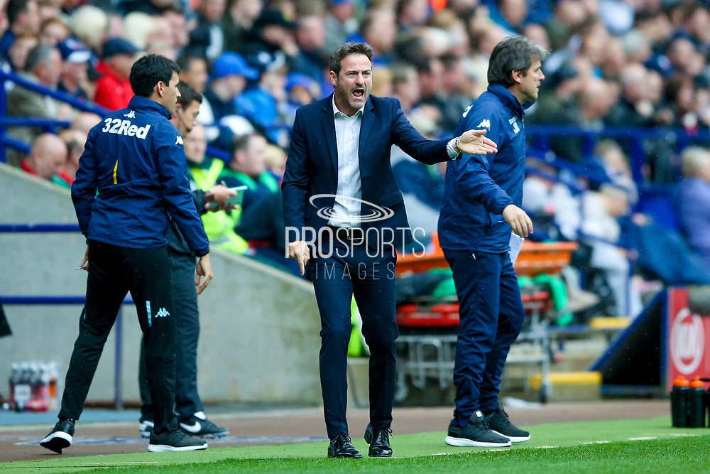 Leeds United manager Thomas Christiansen gives instructions to Leeds United goalkeeper Felix Wiedwald (13)  during the EFL Sky Bet Championship match between Bolton Wanderers and Leeds United at the Macron Stadium, Bolton, England on 6 August 2017. Photo by Simon Davies.
