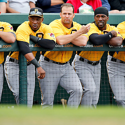 Mar 1, 2013; Sarasota, FL, USA; Pittsburgh Pirates players watch from the dugout during the top of the second inning of a spring training game against the Baltimore Orioles at Ed Smith Stadium. Mandatory Credit: Derick E. Hingle-USA TODAY Sports