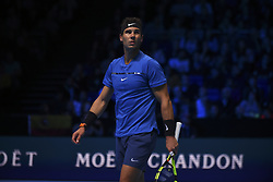 November 13, 2017 - London, England, United Kingdom - Rafael Nadal of Spain celebrates a point in his Singles match against David Goffin of Belgium during day two of the Nitto ATP World Tour Finals at O2 Arena on November 13, 2017 in London, England. (Credit Image: © Alberto Pezzali/NurPhoto via ZUMA Press)