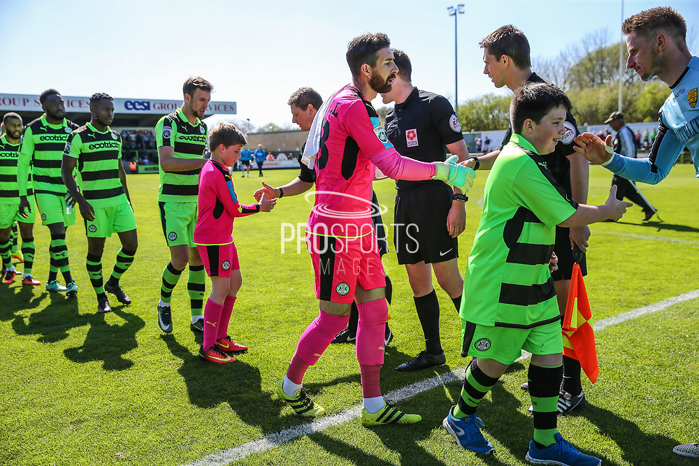 Respect handshake during the Vanarama National League match between Forest Green Rovers and Maidstone United at the New Lawn, Forest Green, United Kingdom on 22 April 2017. Photo by Shane Healey.