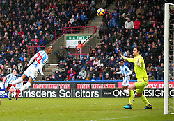 Thomas Ince of Huddersfield Town heads the ball over the bar of Asmir Begovic of Bournemouth's goal - Mandatory by-line: Robbie Stephenson/JMP - 11/02/2018 - FOOTBALL - The John Smith's Stadium - Huddersfield, England - Huddersfield Town v Bournemouth - Premier League