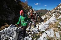 Hikers (Cosmina Raescu & Dan Dinu) in Domogled Valea Cernei National Park, Baile Herculane, Caras Severin, Romania.