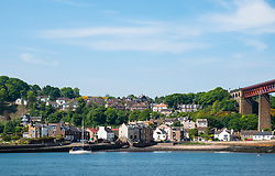 View of North Queensferry village on shore of Firth of Forth in Fife, Scotland, UK