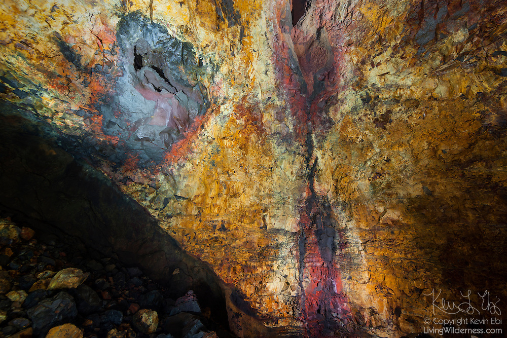 The Icelandic mountain Thrihnukagigur last erupted more than 4,000 years ago. Shown here is the inside of the volcano's magma chamber, the space inside the mountain which housed molten rock from deep inside the earth. Thrihnukagigur means Three Peaks Crater.