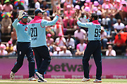 Adil Rashid celebrates his wicket with Jason Roy  during the One Day International match between South Africa and England at Bidvest Wanderers Stadium, Johannesburg, South Africa on 9 February 2020.