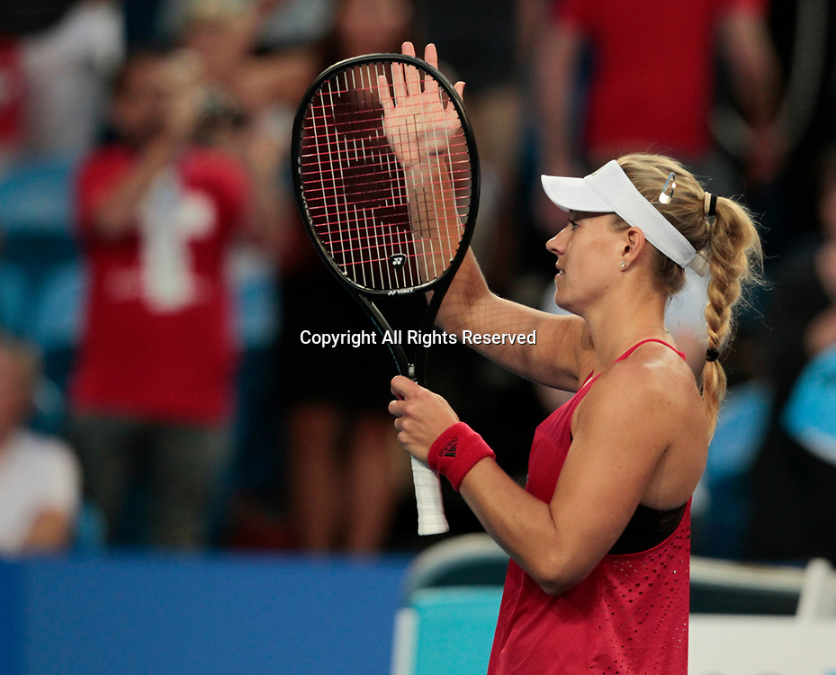 6th January 2018, Perth Arena, Perth, Australia; MasterCard Hopman Cup Tennis Final; Angelique Kerber of Team Germany waves to the crowd after she won the Final against Belinda Bencic of Team Switzerland 2 sets to 0