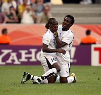 Photo: Chris Ratcliffe.<br /> Czech Republic v Ghana. Group E, FIFA World Cup 2006. 17/06/2006.<br /> Matthew Amoah (L) and Derek Boateng of Ghana celebrate winning a penalty.