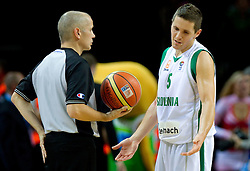 Referee and Jaka Lakovic of Slovenia during basketball game between National basketball teams of Slovenia and Lithuania at of FIBA Europe Eurobasket Lithuania 2011, on September 15, 2011, in Arena Zalgirio, Kaunas, Lithuania. Lithuania defeated Slovenia 80-77.  (Photo by Vid Ponikvar / Sportida)
