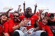 Georgia wide receiver Mecole Hardman (4) celebrates with fans after the end of a college football game between Georgia and Georgia Tech at Bobby Dodd Stadium in Atlanta, Georgia, on Saturday, Nov. 25, 2017. Georgia went on to finish the regular season 11-1 with a 38-7 win over Tech before heading to the SEC Championship in Atlanta.