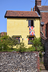 Bunting for 75th anniversary of VE Day, Norwich UK May 2020.  All celebrations cancelled during to Coronavirus lockdown.