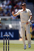 Chris Woakes celebrates a wicket during the Magellan fourth test match between Australia v England at  the Melbourne Cricket Ground, Melbourne, Australia on 26 December 2017. Photo by Mark  Witte.