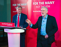 Pictured: Jeremy Corbyn and Richard Leonard <br /> <br /> Jeremy Corbyn and Richard Leonard joined the Scottish Labour faithful tonight at a rally in at the Shottstown Miners Welfare Halls in Penicuik.<br /> <br /> They were joined by Labour MPs Ian Lavery and Danielle Rwley