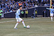 5/22/15- NYCFC midfielder S. Velasquez handles the ball during a NYCFC home match played at Yankee Stadium in the south Bronx.