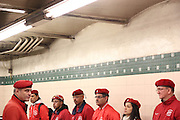 Bronx, N.Y. November 15, 2013. Guardian Angels founder Curtis Sliwa speaks to members at the conclusion of a subway patrol. 11/15/2013. Photo by Paul McCaffrey/NYCity Photo Wire