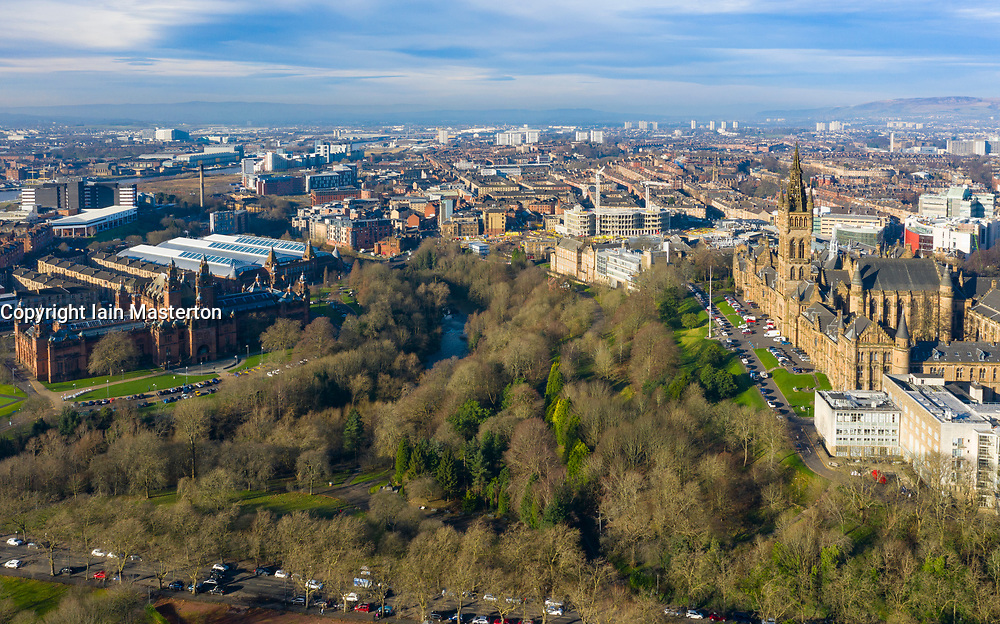Aerial view of Kelvingrove Art Galleries and museum on left and Glasgow University on right, Scotland, UK