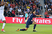Edinson Roberto Paulo Cavani Gomez (psg) (El Matador) (El Botija) (Florestan) on the floor and will have a penalty, Saidy Janko (AS Saint-Etienne) during the French championship L1 football match between Paris Saint-Germain (PSG) and Saint-Etienne (ASSE), on August 25, 2017 at Parc des Princes, Paris, France - Photo Stéphane Allaman / ProSportsImages / DPPI