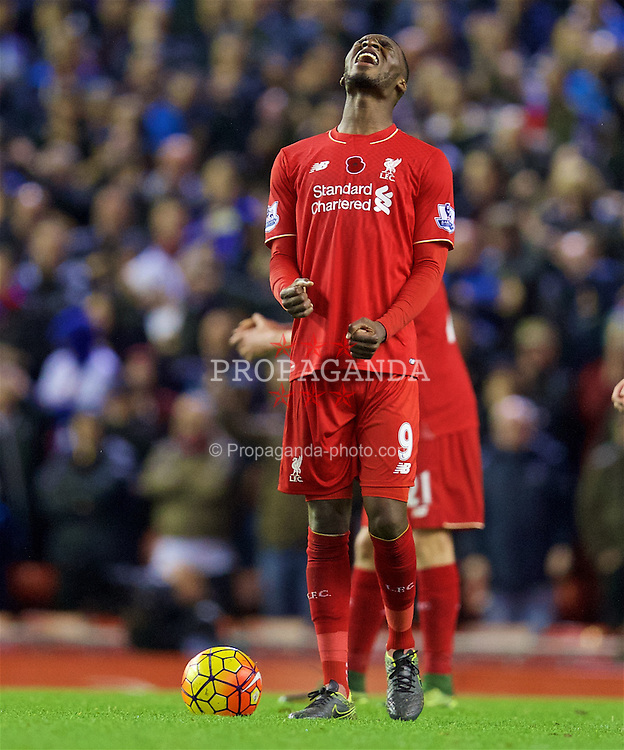 LIVERPOOL, ENGLAND - Sunday, November 8, 2015: Liverpool's Christian Benteke looks dejected as Crystal Palace score the winning second goal during the Premier League match at Anfield. (Pic by David Rawcliffe/Propaganda)