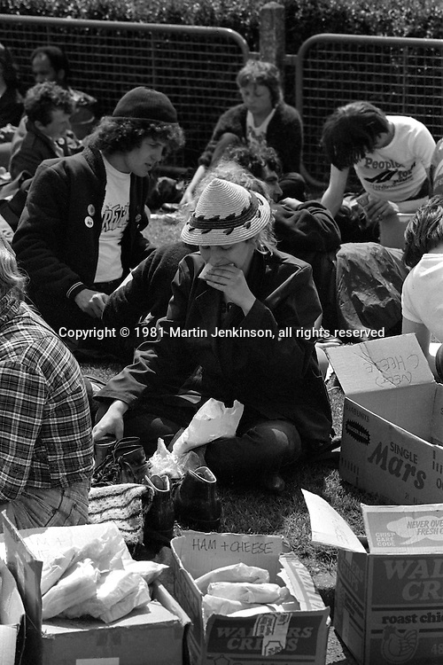 People's  March for Jobs, Yorkshire and Liverpool to London. Bedford to Stotfold 24/05/1981