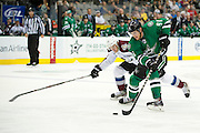 DALLAS, TX - SEPTEMBER 26:  Tyler Seguin #91 of the Dallas Stars breaks free against the Colorado Avalanche in an NHL preseason game on September 26, 2013 at the American Airlines Center in Dallas, Texas.  (Photo by Cooper Neill/Getty Images) *** Local Caption *** Tyler Seguin