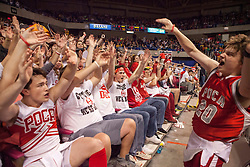 The Poca student section cheers against Westside during a semi-final game at the Charleston Civic Center.