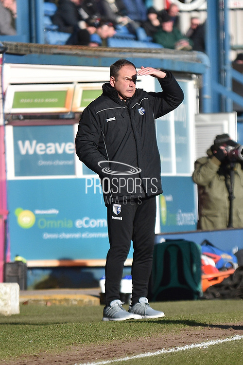 Gillingham Manager, Steve Lovell  during the EFL Sky Bet League 1 match between Bury and Gillingham at the JD Stadium, Bury, England on 24 February 2018. Picture by Mark Pollitt.