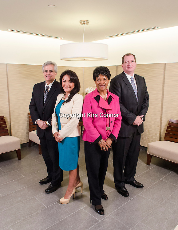 Luis Aguilar (Commissioner U.S. Securities and Exchange Commission), Nina Vaca (Director, Comerica/Director, Kohl's),  Reatha Clark King (Chairman of NACD Former Board Member of ExxonMobil) and Peter Gleason (Managing Director and CFO of NACD) pose during a photo shoot at National Association of Corporate Directors headquarters in Washington DC on August 9th, 2013. Photo by Kris Connor