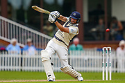 Dawid Malan of Middlesex swings at the ball during the Specsavers County Champ Div 2 match between Middlesex County Cricket Club and Glamorgan County Cricket Club at Radlett Cricket Ground, Radlett, Hertfordshire, United Kingdom on 19 June 2019.
