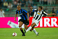 Bari 3/8/2004 Trofeo Birra Moretti - Juventus Inter Palermo. <br /> <br /> Juan Sebastian Veron Inter challenged by Alessandro Del Piero Juventus <br /> <br /> Risultati / results (gare da 45 min. each game 45 min.) <br /> <br /> Juventus - Inter 1-0 Palermo - Inter 2-1 Juventus b. Palermo dopo/after shoot out <br /> <br /> Photo Andrea Staccioli