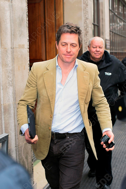 20.MARCH.2012. LONDON<br /> <br /> HUGH GRANT AT BBC RADIO ONE STUDIOS, LONDON<br /> <br /> BYLINE: EDBIMAGEARCHIVE.COM<br /> <br /> *THIS IMAGE IS STRICTLY FOR UK NEWSPAPERS AND MAGAZINES ONLY*<br /> *FOR WORLD WIDE SALES AND WEB USE PLEASE CONTACT EDBIMAGEARCHIVE - 0208 954 5968*