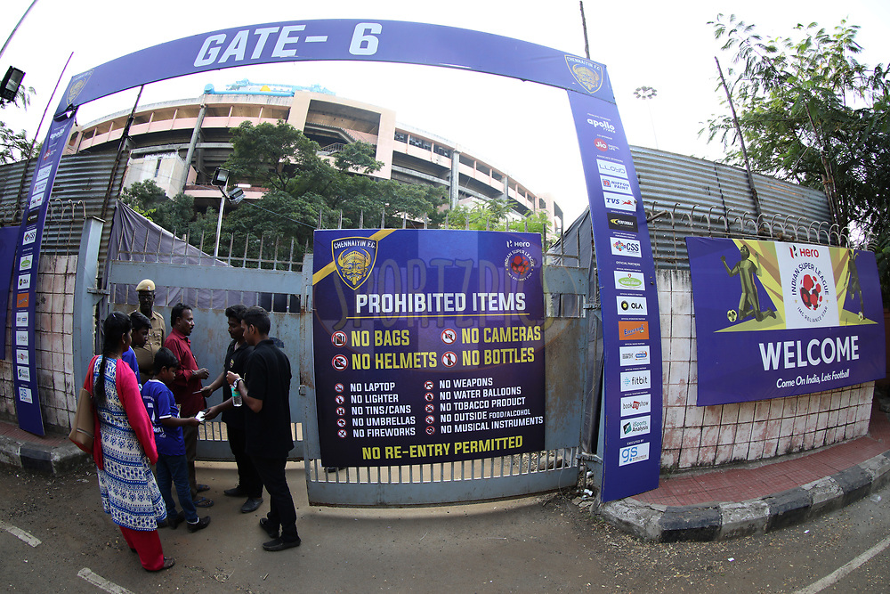 Welcome board during match 41 of the Hero Indian Super League between Chennaiyin FC and Delhi Dynamos FC   held at the Jawaharlal Nehru Stadium, Chennai India on the 7th January 2018<br /> <br /> Photo by: Arjun Singh  / ISL / SPORTZPICS