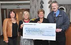 Westport Lions Club presented a cheque recently to 'Micha's Wish to Walk' campaign pictured are Joan Collins Westport Lions Club, Ronny Doyle President Westport Lions Club, Kathy Noonan on behalf of Micha's Wish to Walk and Seamus O'Connell Westport Lions Club.<br />  Pic Conor McKeown