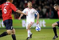Fotball<br /> EM-kvalifisering<br /> Norge v Danmark / Norway v Denmark 1:1<br /> 26.03.2011<br /> Foto: Morten Olsen, Digitalsport<br /> <br /> Dennis Rommedahl - Danmark