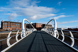 View of modern Clyde Gateway Bridge  crossing River Clyde at Shawfield in East End of Glasgow, Scotland, United Kingdom