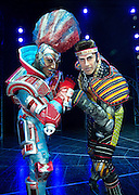 Andrew Lloyd Webber's electrifying musical-on-roller-skates, STARLIGHT EXPRESS, has its South East Asia Premiere at the Lyric Theatre, Hong Kong Academy for Performing Arts tonight<br /> L.Jamie Capewell playing Greaseball, an Elvis look-alike diesel engine<br /> R.Mykal Rand playing Electra, a brand new state-of-the-art electric engine