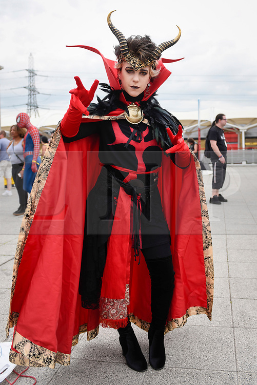 © Licensed to London News Pictures. 28/05/2017. London, UK.  A costumed Doctor Strange inspired character at MCM Comic Con taking place at Excel in East London.  The three day event celebrates popular comic books, anime, games, television and movies.  Many attendees take the opportunity to dress as their favourite characters.    Photo credit : Stephen Chung/LNP
