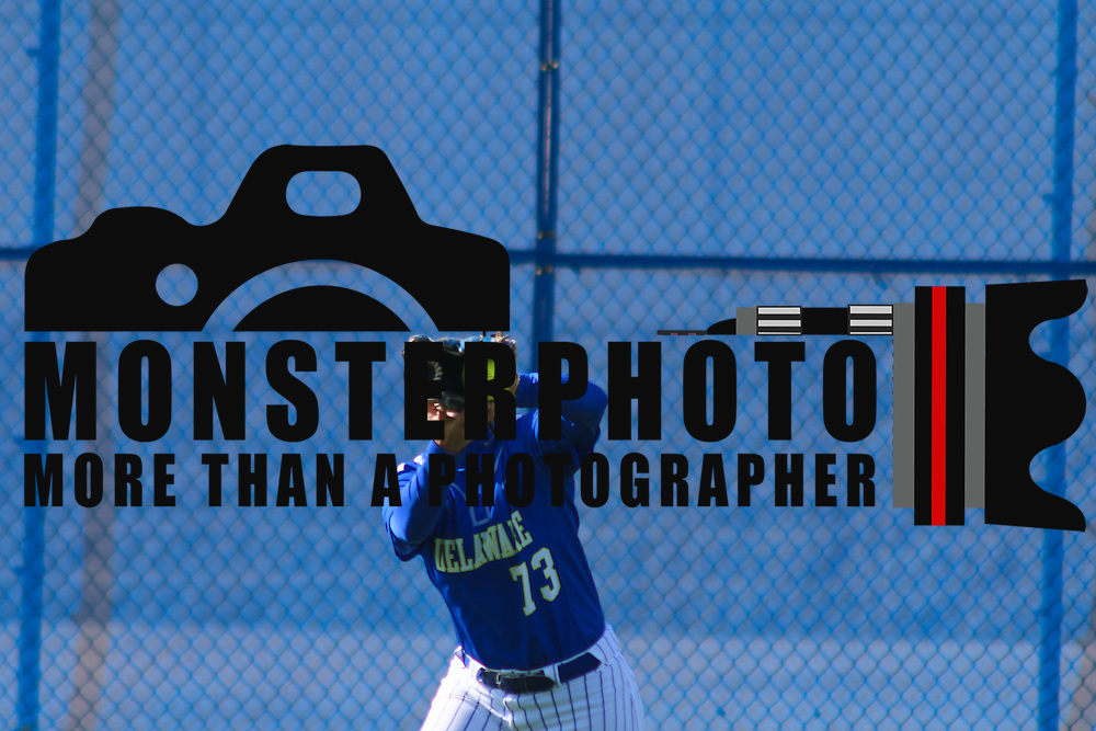 Delaware Outfielder Gabby Klecko (73) catches a fly ball in the third inning of a NCAA Non Conference Regular season game between The University Of Delaware and The Peacocks of Saint Peter's Wednesday, April 23, 2014, at UD Softball Stadium in Newark Delaware.