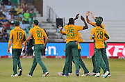 Kagiso Rabada of South Africa (25) celebrates with teammates during the 2016 T20 International Series match between South Africa and Australia in Kingsmead Stadium Durban, Kwa-Zulu Natal on 04 March 2016©Muzi Ntombela/Backpagepix