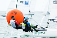 MIAMI - January 29, 2015.  Volvo Ocean Race champion Frank Cammas competes in the Nacra 17 class with crew Sophie de Turckheim at the 2015 ISAF Sailing World Cup in Miami.